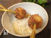 Zitronengrasspieße mit Koriander, Erdnussdip und Wildkräutersalat - Rezept - Bild Nr. 8040
