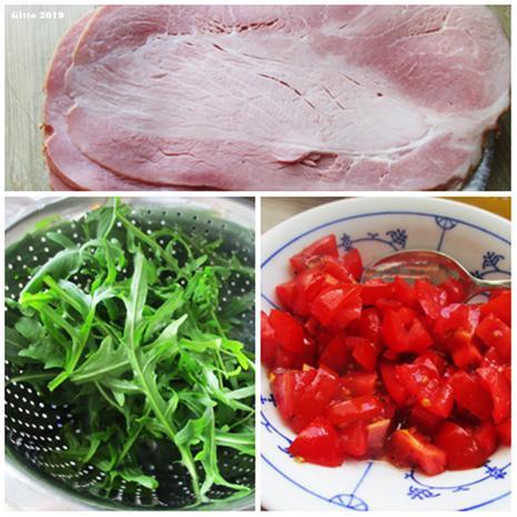 Pfannekuchen gefüllt mit Schinken, Tomaten, Rucola und Spargel - Rezept - Bild Nr. 8071