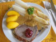 Schmorsauerbraten mit Gemüsesauce, Spargel und Kartoffeln - Rezept - Bild Nr. 8070