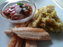 Forelle geräuchert mit rustikalem Kartoffelstampf und Radieschen-Salat - Rezept - Bild Nr. 8093