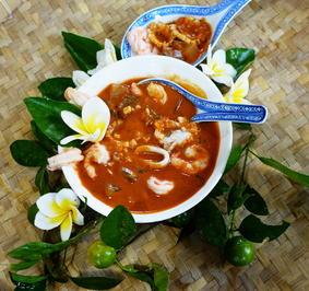 Rote Currysuppe mit Garnelen und Tintenfischen - Rezept - Bild Nr. 8093