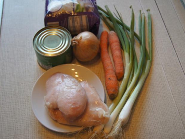 Hähnchenbrustfilet mit Gemüsestreifen und gelber Basmatireis - Rezept - Bild Nr. 8141