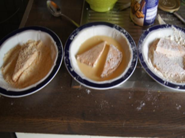 Panierter Leberkäse mit Pimentos und herzhaften Bratkartoffeln - Rezept - Bild Nr. 8152
