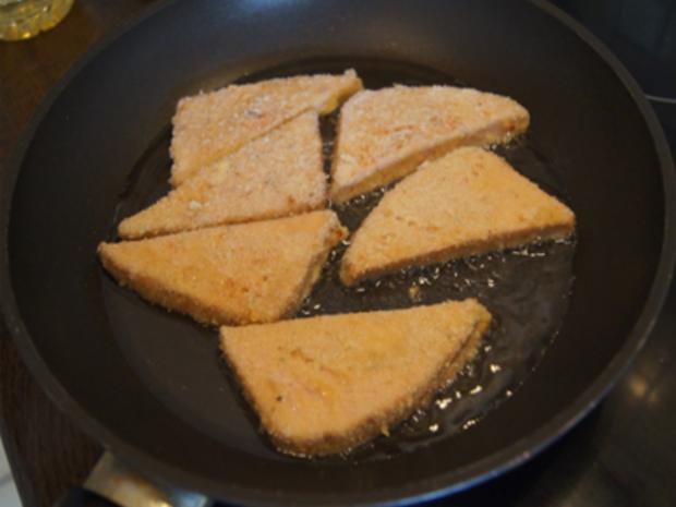 Panierter Leberkäse mit Pimentos und herzhaften Bratkartoffeln - Rezept - Bild Nr. 8153