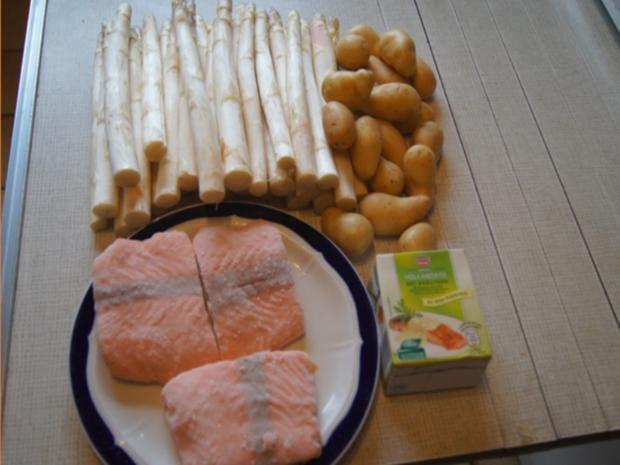 Frischer Spargel mit Lachsfilet, gelben Drillingen und Sauce Hollandaise mit Kräutern - Rezept - Bild Nr. 3