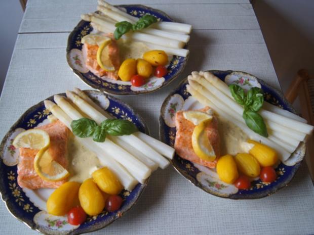 Frischer Spargel mit Lachsfilet, gelben Drillingen und Sauce Hollandaise mit Kräutern - Rezept - Bild Nr. 10