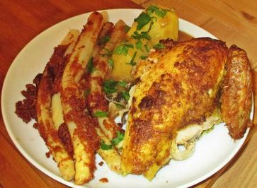 Rezept: Hühnchen vom Spiess mit Spargel