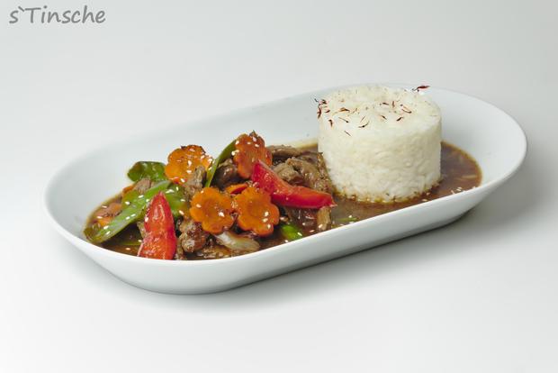 Asiatisches Pfeffer-Rind, Gemüse & Jasminreis - Rezept - Bild Nr. 8177