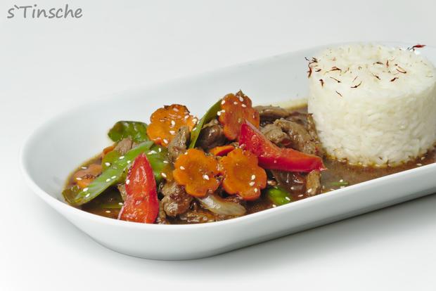 Asiatisches Pfeffer-Rind, Gemüse & Jasminreis - Rezept - Bild Nr. 8178
