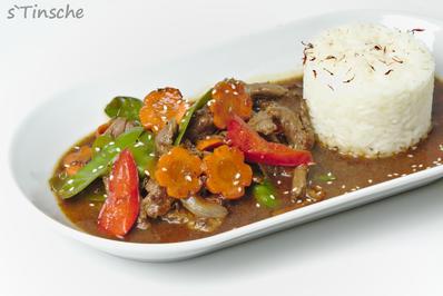 Asiatisches Pfeffer-Rind, Gemüse & Jasminreis - Rezept - Bild Nr. 8179