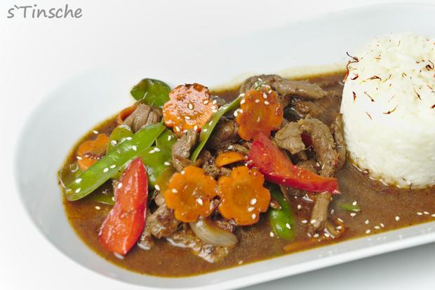 Asiatisches Pfeffer-Rind, Gemüse & Jasminreis - Rezept - Bild Nr. 8180