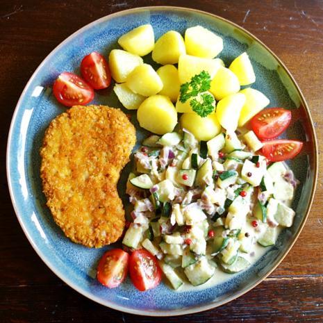Zucchini in scharfer Senf-Sahne-Sauce mit rosa Beeren - Rezept - Bild Nr. 8178