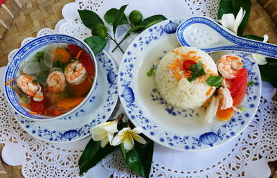 Rezept: Rettichsuppe mit Garnelen und Kokosreis – Luo Bo Hai Mi Tang