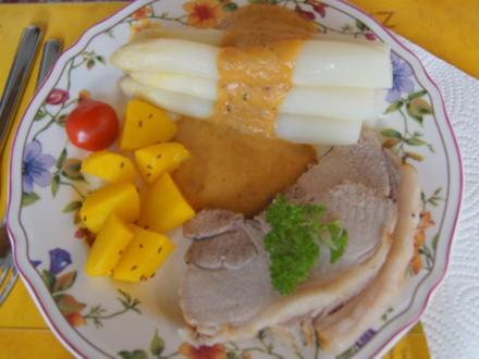 Schinken-Krustenbraten mit Sauce, Spargel und Frühkartoffeln - Rezept - Bild Nr. 8178