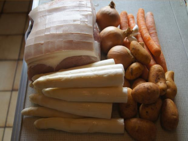 Schinken-Krustenbraten mit Sauce, Spargel und Frühkartoffeln - Rezept - Bild Nr. 8179
