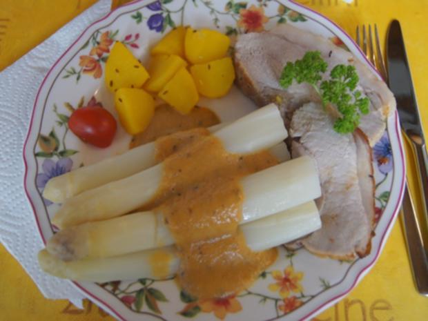 Schinken-Krustenbraten mit Sauce, Spargel und Frühkartoffeln - Rezept - Bild Nr. 8197