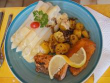 Frischer Spargel mit zweierlei Fisch und Bratkartoffeln - Rezept - Bild Nr. 8178