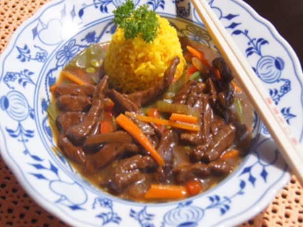 Gebratenes Rindfleisch mit Austernsauce, gemischtes Gemüse und gelber Reis... - Rezept - Bild Nr. 8178