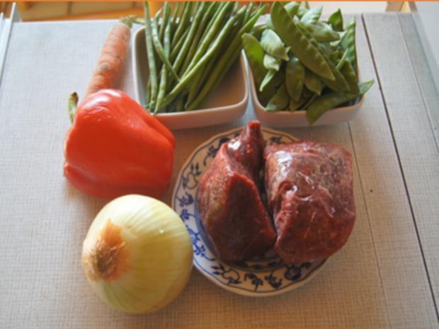 Gebratenes Rindfleisch mit Austernsauce, gemischtes Gemüse und gelber Reis... - Rezept - Bild Nr. 8179