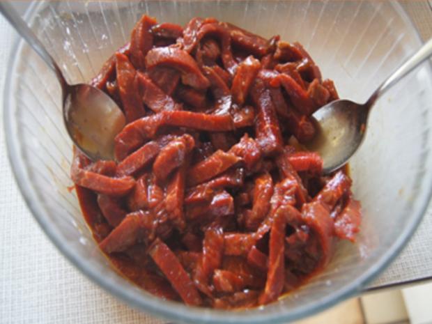 Gebratenes Rindfleisch mit Austernsauce, gemischtes Gemüse und gelber Reis... - Rezept - Bild Nr. 8183