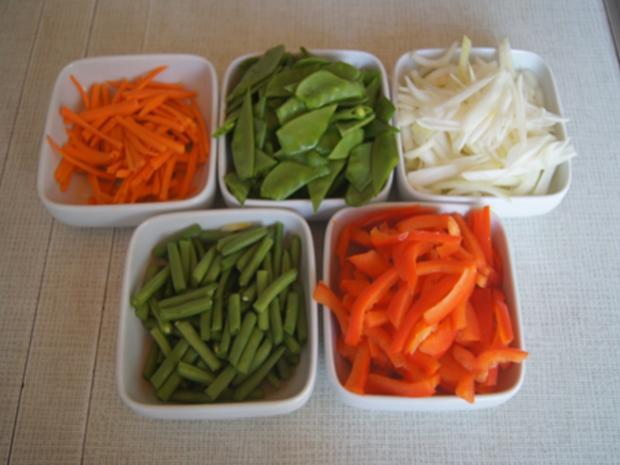 Gebratenes Rindfleisch mit Austernsauce, gemischtes Gemüse und gelber Reis... - Rezept - Bild Nr. 8188