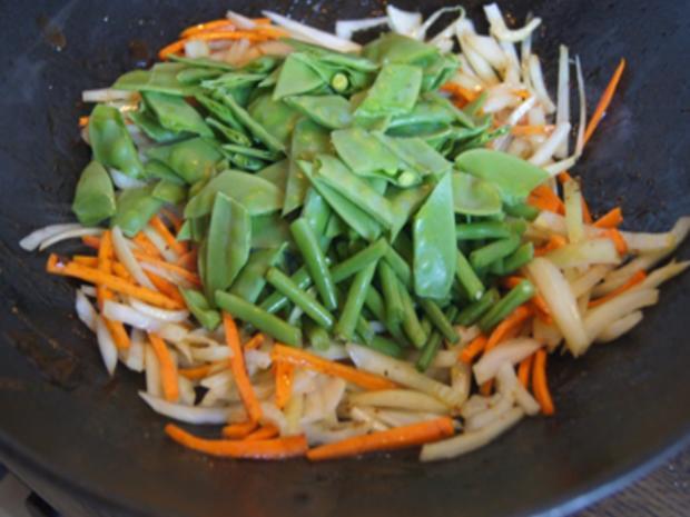 Gebratenes Rindfleisch mit Austernsauce, gemischtes Gemüse und gelber Reis... - Rezept - Bild Nr. 8191