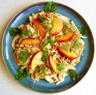 Fenchel-Paprika-Karottensalat mit Vanille-Nektarine und Cashew-Vinaigrette - Rezept - Bild Nr. 8203