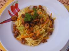 Pasta mit Spaghetti, Gemüse und Garnelen - Rezept - Bild Nr. 8252