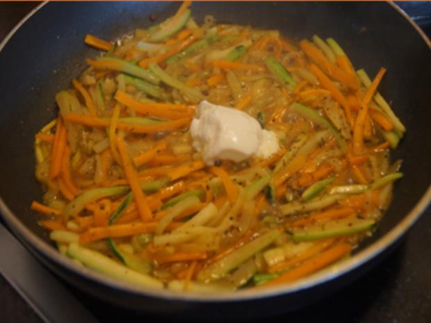 Pasta mit Spaghetti, Gemüse und Garnelen - Rezept - Bild Nr. 8259