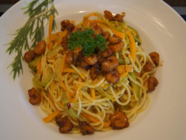 Pasta mit Spaghetti, Gemüse und Garnelen - Rezept - Bild Nr. 8266