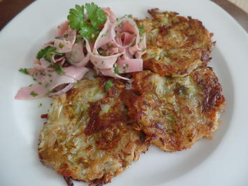 Spargel-Kartoffel-Rösti mit Schinkensalat - Rezept - Bild Nr. 8252
