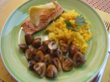 Lachsfilet mit Champignons und Mais-Kartoffel-Stampf - Rezept - Bild Nr. 2