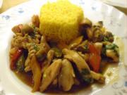 Hähnchen-Champignon-Paprika-Wok und gelber Basmatireis - Rezept - Bild Nr. 8260