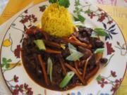 Gebratenes Rindfleisch und Gemüse mit Austernsauce und gelber Basmatireis - Rezept - Bild Nr. 2