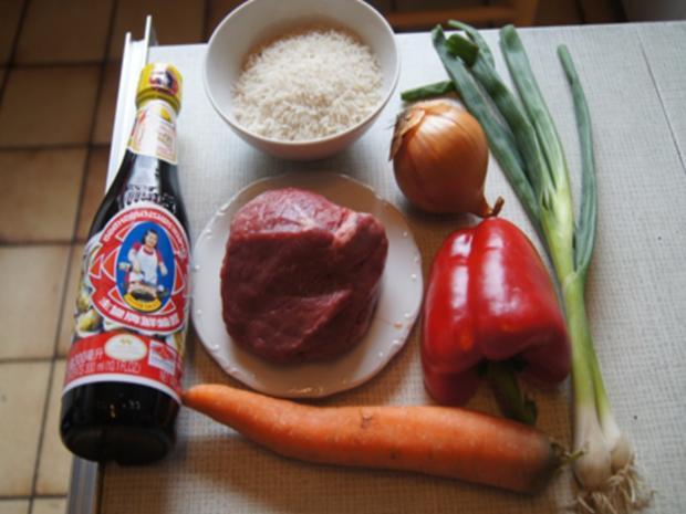 Gebratenes Rindfleisch und Gemüse mit Austernsauce und gelber Basmatireis - Rezept - Bild Nr. 3