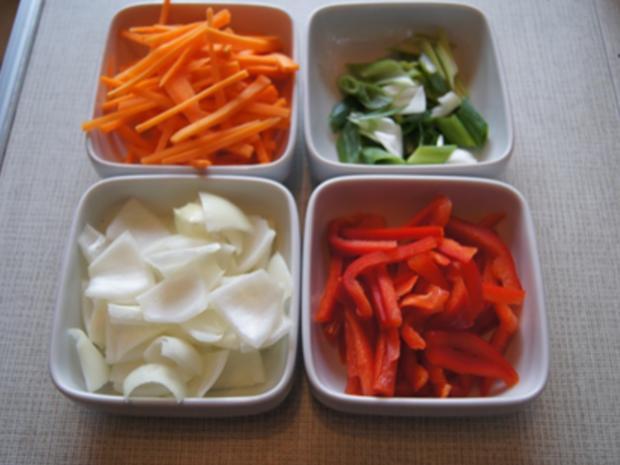 Gebratenes Rindfleisch und Gemüse mit Austernsauce und gelber Basmatireis - Rezept - Bild Nr. 11