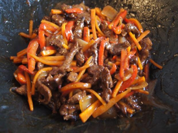 Gebratenes Rindfleisch und Gemüse mit Austernsauce und gelber Basmatireis - Rezept - Bild Nr. 19