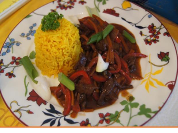 Gebratenes Rindfleisch und Gemüse mit Austernsauce und gelber Basmatireis - Rezept - Bild Nr. 20