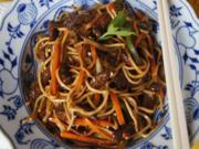 Mie-Nudeln mit Rindfleisch und Gemüse im Wok - Rezept - Bild Nr. 8296