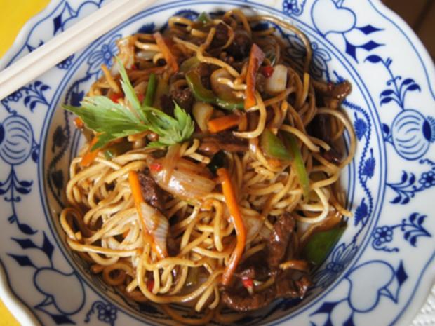 Mie-Nudeln mit Rindfleisch und Gemüse im Wok - Rezept - Bild Nr. 8312