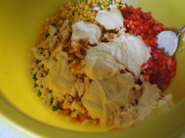 Nudelsalat mit Gabelspaghetti, Gemüse und Eiern - Rezept - Bild Nr. 8379