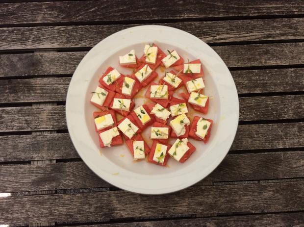 Eiskalte Wassermelone mit Feta - ein Sommertraum - Rezept - Bild Nr. 8379