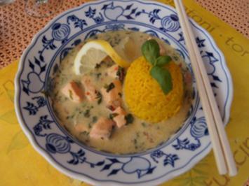 Rezept: Lachs-Garnelen-Wok und gelber Basmatireis