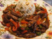 Rindfleisch-Paprika-Wok mit Cashew-Reis - Rezept - Bild Nr. 8421