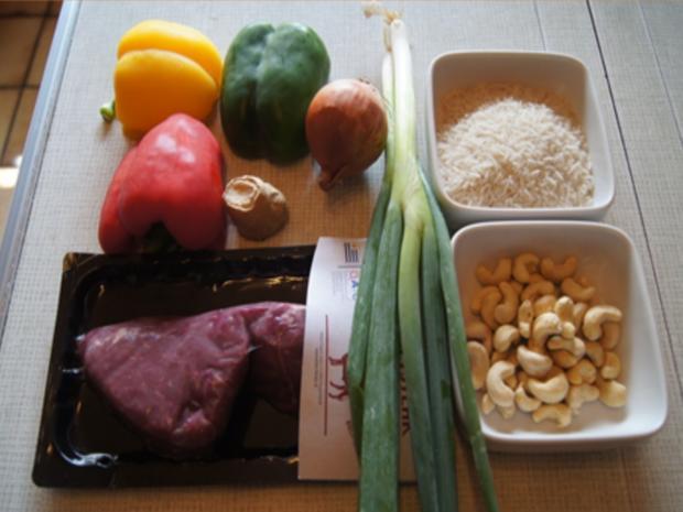 Rindfleisch-Paprika-Wok mit Cashew-Reis - Rezept - Bild Nr. 8422