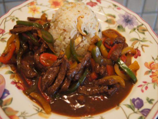 Rindfleisch-Paprika-Wok mit Cashew-Reis - Rezept - Bild Nr. 8439