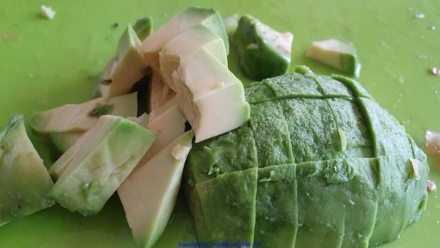 Biggi`s Salate = Wasabi-Rucula Salat mit Avocado Melone und Passionsfrucht - Rezept - Bild Nr. 8475