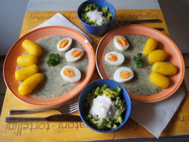 Gekochte Eier mit Dillsauce, Kartoffeln und Romana-Salat - Rezept - Bild Nr. 8482
