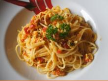 Spaghetti in Chili-Tomaten-Ei-Pfanne - Rezept - Bild Nr. 2