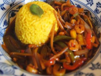 Rezept: Garnelen-Gemüse-Wok mit Basmatireis